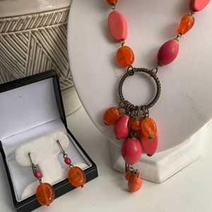 Vintage Coral bead necklace and earring set